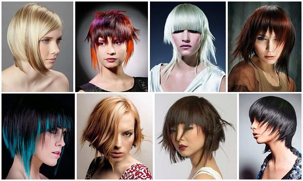 Креативные стрижки с челкой на средние волосы фото